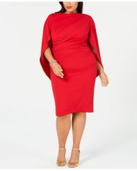 Betsy & Adam - Plus Size Ruched Cape Dress - Lyst