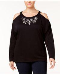 INC International Concepts - Plus Size Embellished Cold-shoulder Sweatshirt - Lyst