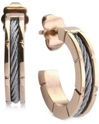 "Charriol - Small Hoop Cable Earrings In Stainless Steel & Rose Gold-tone Pvd, 1"" - Lyst"