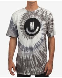 Neff Smiley Wash Tie-dyed Logo Graphic T-shirt - Grey