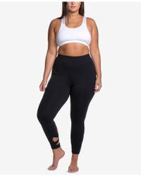 Soffe - Curves Plus Size Wraparound-hem Performance Leggings - Lyst