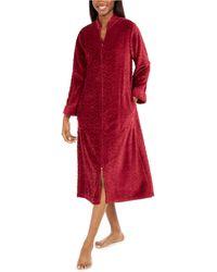 Miss Elaine Jacquard Cuddle Fleece Long Zipper Robe - Red