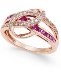 Macy's - Certified Ruby (1 Ct. T.w.) And Diamond (1/5 Ct. T.w.) Swirl Ring In 14k Rose Gold - Lyst