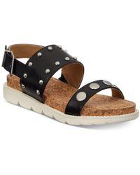 Adrienne Vittadini Perry Flat Sandals - Black