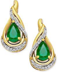 Macy's - Emerald (3/4 Ct. T.w.) And Diamond (1/10 Ct. T.w.) Stud Earrings In 14k Gold - Lyst