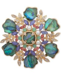 Anne Klein Gold-tone Multi-stone & Imitation Pearl Cluster Pin, Created For Macy's - Metallic