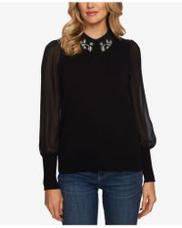 Cece - Mixed-media Embellished Sweater - Lyst