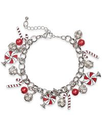 Charter Club Holiday Lane Silver-tone Crystal & Imitation Pearl Peppermint Charm Bracelet, Created For Macy's - Metallic