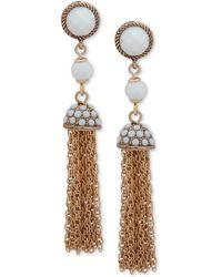 Anne Klein - Gold-tone Stone & Bead Chain Tassel Drop Earrings - Lyst