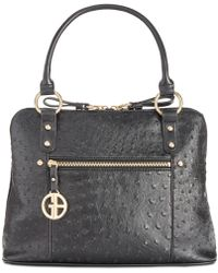 Giani Bernini Ostrich-embossed Dome Satchel, Created For Macy's - Black