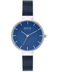 Bering Solar Powered Blue Stainless Steel Mesh Bracelet Watch 31mm