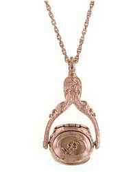 "2028 Rose Gold-tone 3-sided Spinner Locket Necklace 30"" - Metallic"