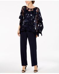 R & M Richards - Sequin-embellished Poncho & Pants - Lyst