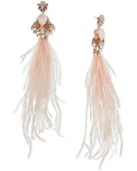 Betsey Johnson Rose Gold-tone Crystal, Stone & Feather Chandelier Earrings - Multicolor