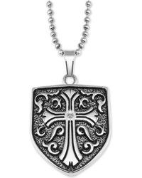 "Macy's - Cross Shield 24"" Pendant Necklace In Stainless Steel - Lyst"