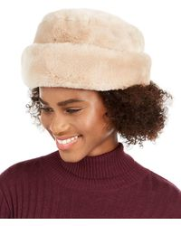 Nine West Faux Fur Cuff Cloche - White