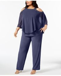 R & M Richards - Plus Size Capelet Cold-shoulder Top & Pants Set - Lyst
