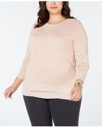 Joseph A Plus Size Split-back Layered Sweater - Natural