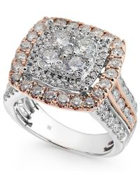 Macy's Diamond Two-tone Squarelcluster Ring (2-1/2 Ct. T.w.) In 14k White & Rose Gold - Metallic