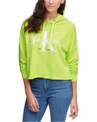 Calvin Klein Logo Hooded Cropped Sweatshirt - Green