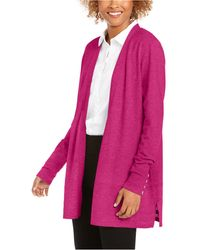 Charter Club Open-front Cardigan, Created For Macy's - Pink