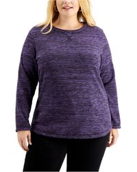 Karen Scott - Plus Size Space-dyed Microfleece Top, Created For Macy's - Lyst