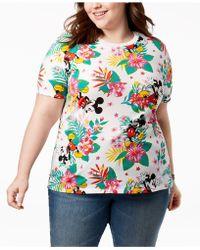 Disney Plus Size Mickey Mouse Tropical-print T-shirt - Blue