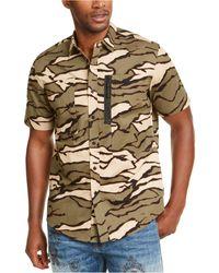 Sean John Tiger Camouflage Military Flight Short Sleeve Shirt - Multicolor