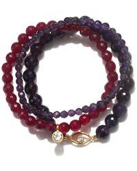 Satya Jewelry Amethyst & Fuchsia Agate Gold Eye Stretch Bracelet Set - Multicolor