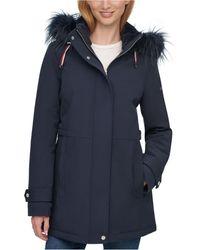 Tommy Hilfiger Faux-fur Trim Hooded Raincoat - Blue