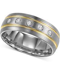 Triton Men's Diamond Stripe Wedding Band In Tungsten Carbide (1/6 Ct. T.w.) - Metallic