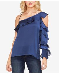 Vince Camuto - One-shoulder Ruffled Blouse - Lyst