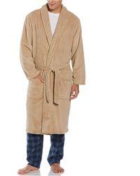 Perry Ellis Portfolio Plush Banded Robe - Natural