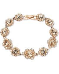 Marchesa Rose Gold-tone Crystal & Imitation Pearl Cluster Flex Bracelet - Metallic