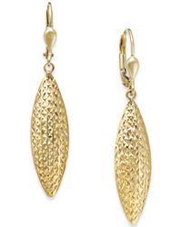 Macy's - Textured Navette Drop Earrings In 14k Gold - Lyst