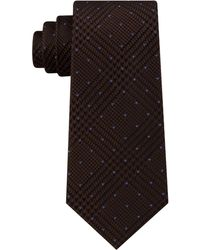 Michael Kors Dotted Glen-check Silk Tie - Brown