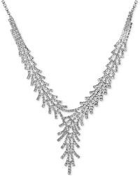 """INC International Concepts Inc Silver-tone Crystal Fan Lariat Necklace, 17"""" + 3"""" Extender, Created For Macy's - Metallic"""