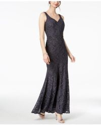 579b3f359c8 Betsy   Adam B a By Glitter Lace Mock-neck Gown in Blue - Lyst