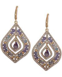 Lonna & Lilly Beaded Drop Earrings - Purple