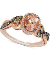 Le Vian - Chocolatier® Peach Morganitetm (3/4 Ct. T.w.) & Diamond (1/2 Ct. T.w.) Ring In 14k Rose Gold - Lyst