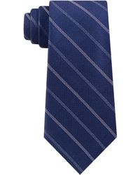 Michael Kors Classic Stripe Textured Silk Tie - Blue