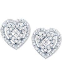 Macy's - Diamond Heart Cluster Stud Earrings (1/2 Ct. T.w.) In 14k White Gold - Lyst