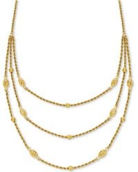 """Macy's - Fancy Bead Three-row Statement Necklace 18"""" In 10k Gold - Lyst"""