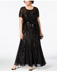 R & M Richards - Plus Size Sequined Godet Gown - Lyst