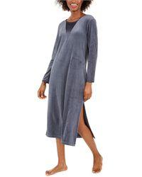 Sesoire Luxe Fleece Long Nightgown - Gray