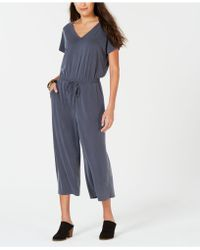 Style & Co. Petite Cropped V-neck Jumpsuit, Created For Macy's - Gray