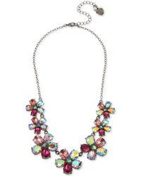"Betsey Johnson - Hematite-tone Crystal Flower Statement Necklace, 16"" + 3"" Extender - Lyst"