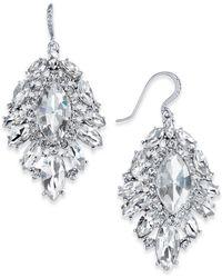 Charter Club Silver-tone Crystal Cluster Drop Earrings - Metallic