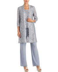 R & M Richards 3-pc. Sequined Lace Pantsuit & Jacket - Metallic
