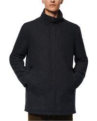 Marc New York Melton Car Coat With Faux Leather Trim And Inset Nylon Bib - Black